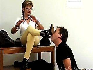 Servant Licks Boots For Mature Mistress.