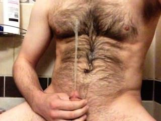Spraying A Fountain Of Piss On My Hairy Chest