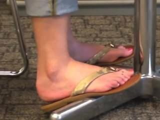 Candid Blonde Feet And Toes In Flip Flops