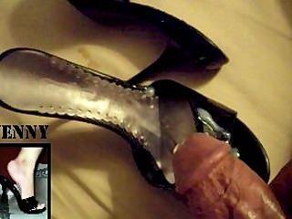 Hot Cumshot Over Sexys High Heels
