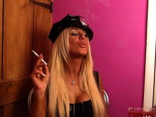 Blonde Policewoman Michelle Smoking