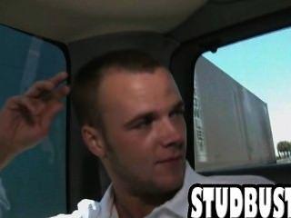 Big Cock Stud Gets Shaved Ass Fucked In A Van