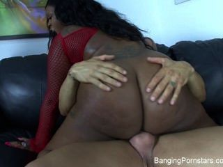 Busty Black Slut Gets Fucked By A White Dick