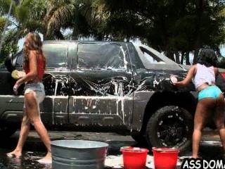Car Wash Ass! With Jessica Dawn And Her Big Booty Girlfriend.1