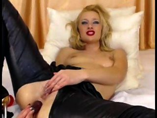 Cute Blonde In Latex Pants Toys Ass On Cam Sex Toys