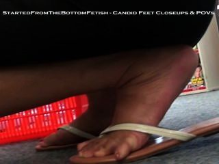 Candid Asian Feet Close Up In Flip Flops
