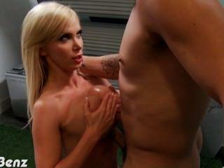 Blonde Nikki Benz Blowing A Big Cock