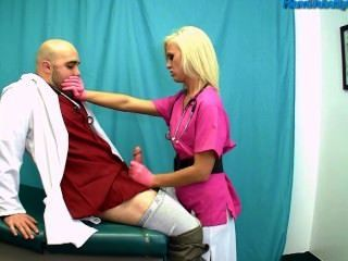 Rather valuable Nurse gives gloved hand job