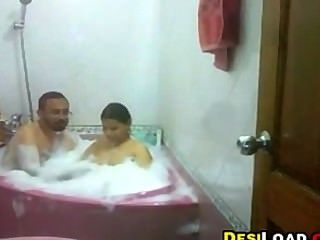 Indian Woman Having A Bath