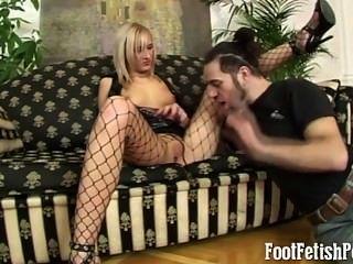Blonde In Black Fishnets Footfetish