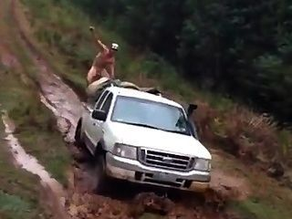 Straight Hillbilly Riding Car Naked In The Mud.