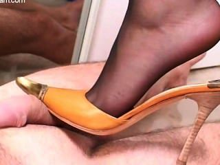 Nicole 24 - Trample-shoe-footjob With Black Pantyhose