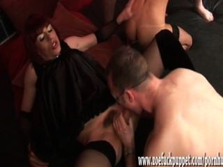 Hot Crossdresser And Shemale Gang Bang With Big Cocks And Lots Of Cum