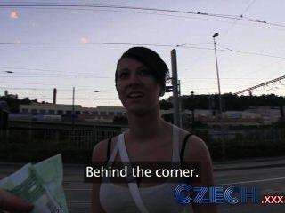 Czech Hottie Sucks And Fucks From Behind In Public