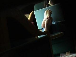 Candid Feet Using Laptop