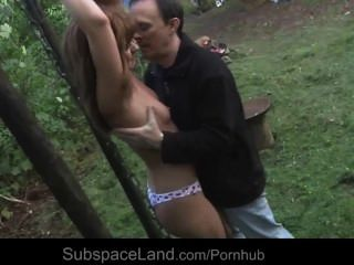 Bondage Redhead Slave Slut Tied And Banged In The Forest