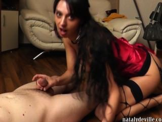 Nataly Deville Pisses On A Cock And Gets A Cum Load In Her Face