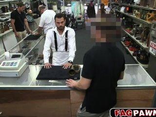 Sexy Gay Blows A Cock In Public Pawn Shop