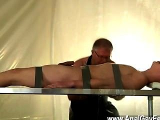 Gay Video Strapped Down And At The Mercy Of His Daddy, Alex Is Made To