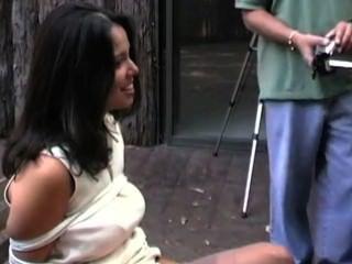 Smoking Girl Dangling And Tied Up