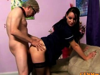Young Cfnm Maid Servicing Older Dude