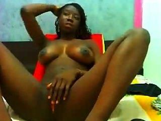 Beautiful Ebony Teen Big Tits Dilldo Masturbation