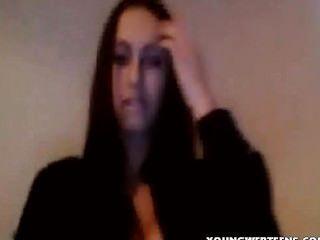 Gorgeous Skinny Brunette Teen Masturbating On Webcam