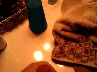 Small Cock Cumming On Sink After Shower