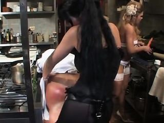 Carmen And Alysha Dominate A Guy With Massive Strapons In Kitchen