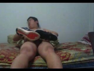 College Dorm Room Shoe Play Cock