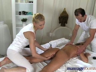 Massage Rooms Two Horny Girls Share Big Hard Cock In Oily Threesome Fun