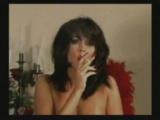 Celeste Smokes Dark Hair