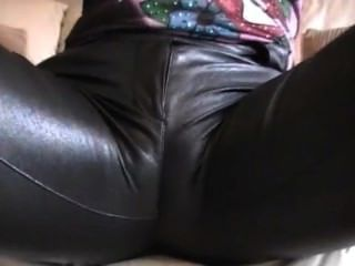 Hot Blond With Big Boobs Teasing In Leather Leggings