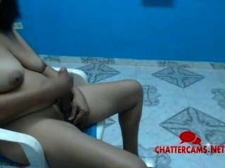 Busty Latina Tranny Blows Herself