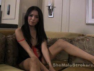 Shemale Jamie Page In Las Vegas Stroking Big Tgirl Cock