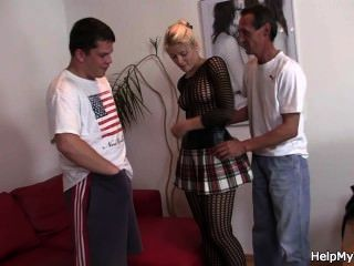 Blonde In Fishnets Cuckolds Old Husband