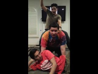 Young Latino Stud Straddles Hulkish Bear While Watcher Contemplates Suicide