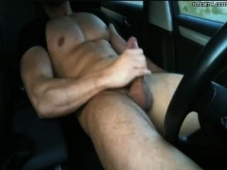 Athletic stud jerking his bigcock