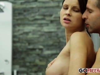Busty Brunette Abbie Cat Fucked After Taking A Shower