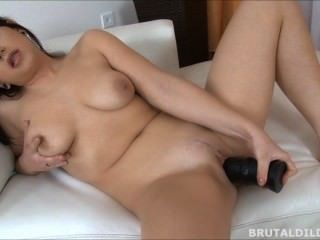Busty Brunette Babe Fucking Herself With A Big Black Brutal Dildo In Hd