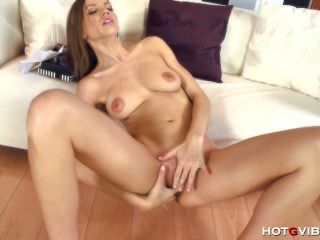 Slim Slut Cums On Her Couch
