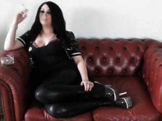 Princess Smoke - Smoking In Pvc & Heels On The Sofa