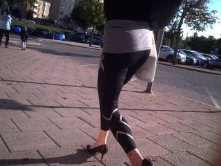 Incredible Milf With Bubble Butt In Black Leggings And Heels Walking 2