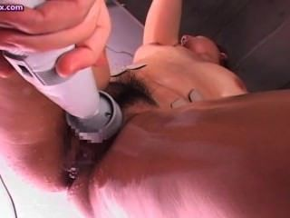 Asian Gets Cunt And Ass Dildoed