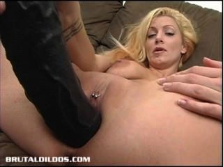Slutty Blonde Fills Her Pussy With A Massive Dildo