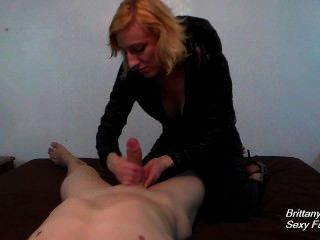 Pov Handjob And Blowjob Then Cum Play By Blonde In Puffy Jacket And Leather