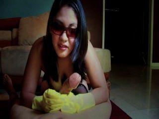 Handjob With Rubber Glove