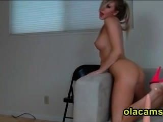 Busty Blonde Teen Strip And Dildoing Pussy