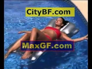 Relaxing In The Pool On A Air Mattress