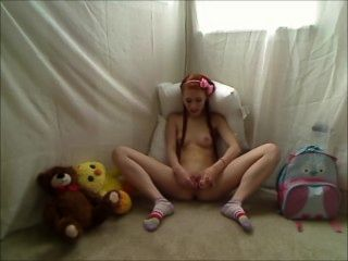 Hot Teen Redhead Dolly Little Masturbates In Footie Pajamas